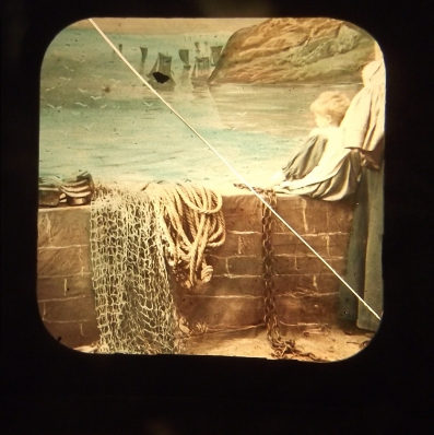 Queen of Angels, 19th C glass lantern slide, broken, as seen through 20th C slide viewer 10.