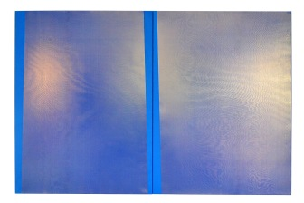 Blue *204 2015 Acrylic, silk, spray paint, wooden stretcher 1200 x 900 mm each (diptych)