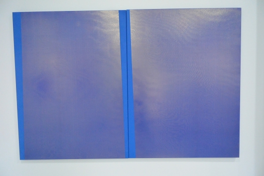 Nicola Holden Blue *204 2015 Acrylic, silk, spray paint, wooden stretcher 1200 x 900 mm each (diptych)