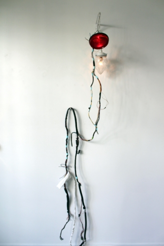 FIONA JOHNSTONE porchlight ii: Saint Sebastian 2016 Mixed media: auto tail-lights & loom, tractor tail-light, cut crystal porchlight, aluminium, linen, steel, pvc, steel, enamel