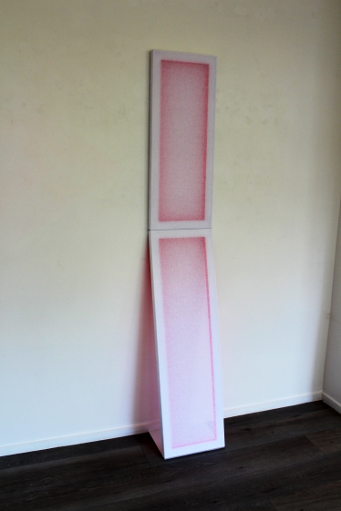 NICOLA HOLDEN, Prop, 2016, Acrylic fabric, acrylic paint, canvas board and wooden stretcher, 2080 x 350 mm