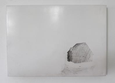 ESTHER LEIGH Rain 2016 Graphite, enamel on board 200 x 275 mm