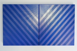 V- Diptych 2015 Acrylic, silk, spray paint, wooden stretcher 350 x 400 mm each (diptych)