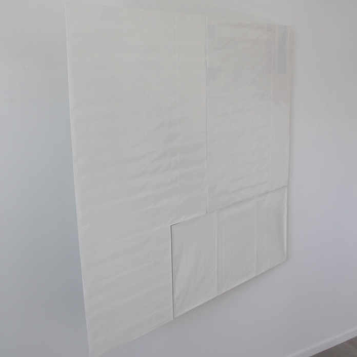 """anti-flash white, then """"oh boy (its a blue steel dad)"""" 2015 Paint on paper, paper card and glue. Steel fasteners. 1190 x 1120 x 40mm (approx.)"""