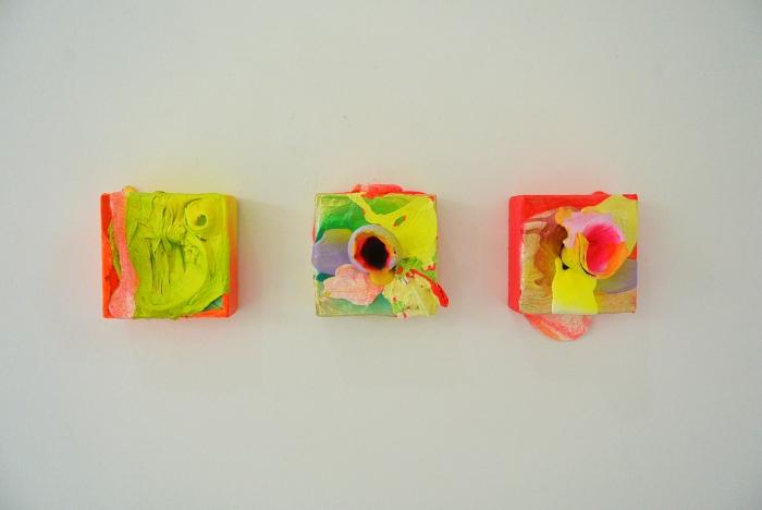 installation shot of small three works