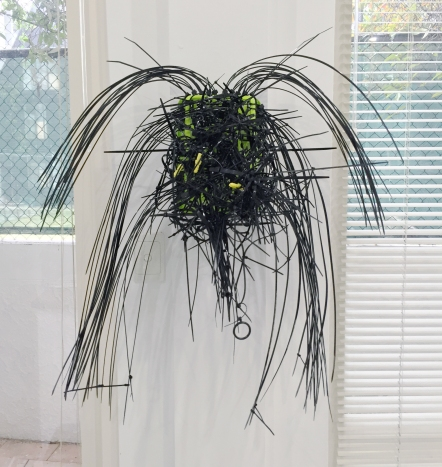 JOHN HURRELL Big Black Spider Mask 2014 Nylon, cable ties, curtain rings, plugs and peg basket 880 x 750 x 280mm (appprox.)