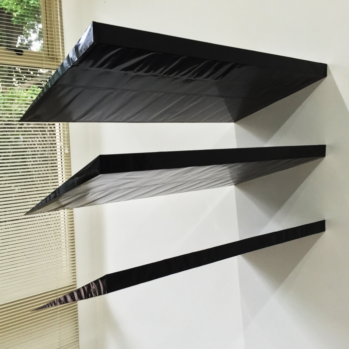 IAN PETER WESTON the camels were coming now the black flag 2016 Paint on paper, paper card, balsa wood, adhesives, steel and aluminium brackets 1060 x 820 x 490 mm (approx.)