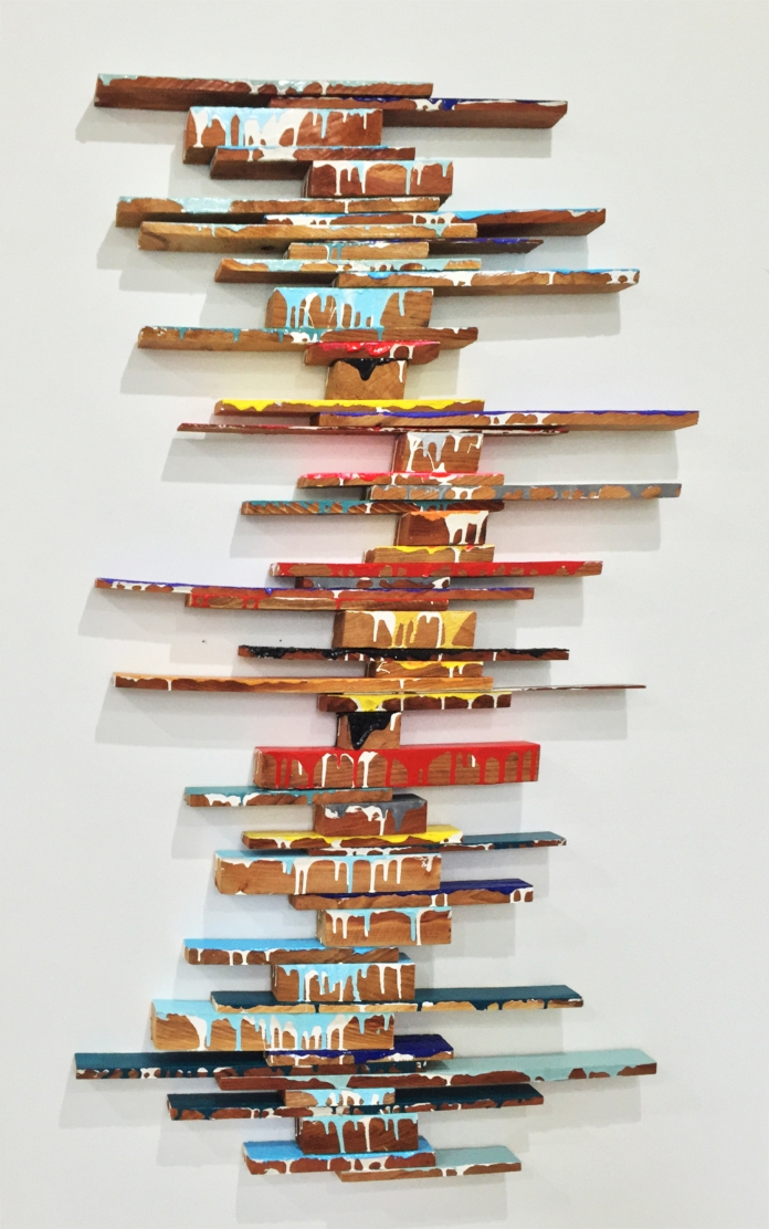 BILL RILEY In Or Out 2016 Oil and acrylic on cedar wood 1380 x 880 mm