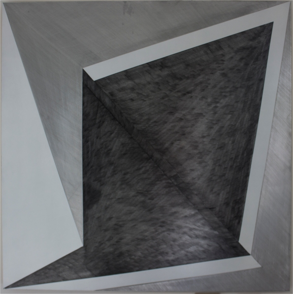 SplitShift 2016, Enamel, graphite, aluminium, 800 x 800 mm