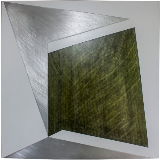 Sway 2016, Oil, enamel, graphite, aluminium, 600 x 600 mm