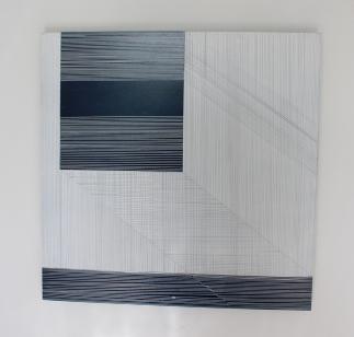 Diane Scott, Black Line,Enamel and aluminium 400 x 400mm