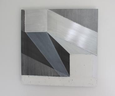 Diane Scott, Running Ground, Acrylic, graphite and aluminium 400 x 400mm