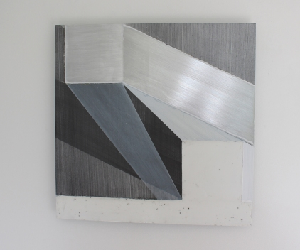 Diane Scott, Running Ground, Acrylic, graphite and aluminium 400 x 400mm