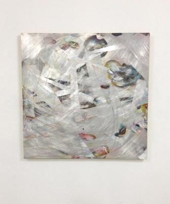 Diane Scott. Light Net , 2018. Aluminium, oil, enamel, graphite, ink. 1000 x 1000 mm view 2jpg