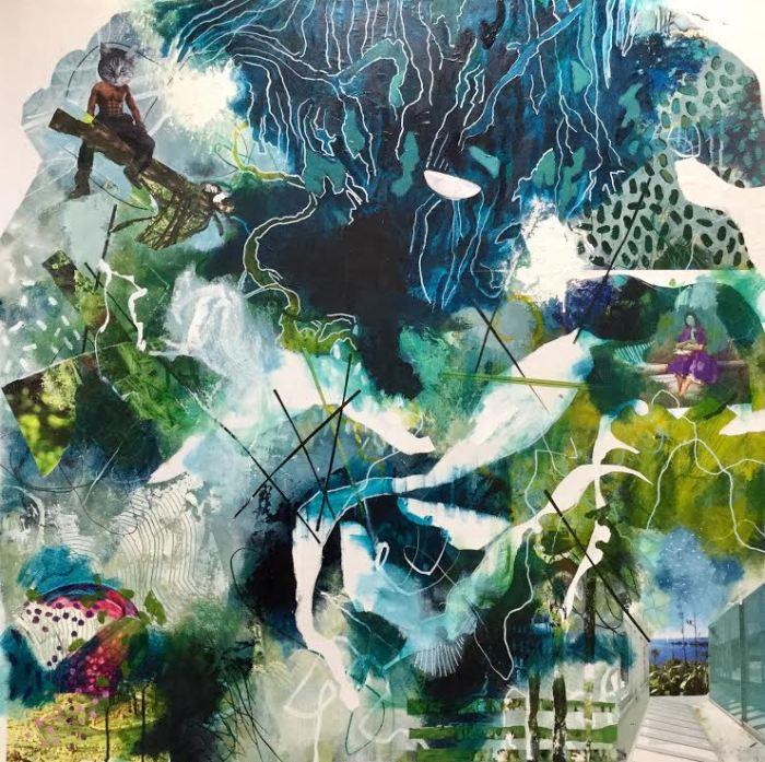 Gateway, 2019, acrylic, ink, resin sand, collage, gel medium, fixative, varnish on canvas, 1000 x 1000 mm