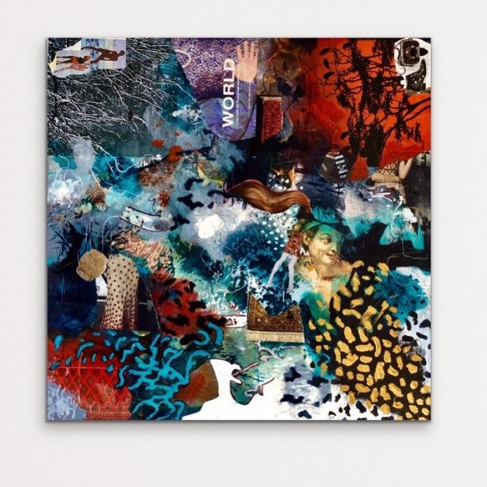 World, 2019, acrylic, ink, resin sand, collage, gel medium, fixative, varnish on canvas, 760 x 760 mm