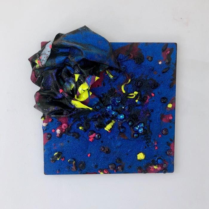 Hot Frost, 2019, acrylic, paint skins glitter, glass beads, spray paint and glitter on aluminium, 300 x 300 mm