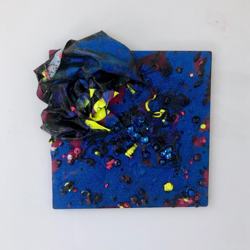 Hot Frost, 2019, acrylic, paint skins glitter, glass beads, spray paint and glitter on aluminium, 300 x 300 mm