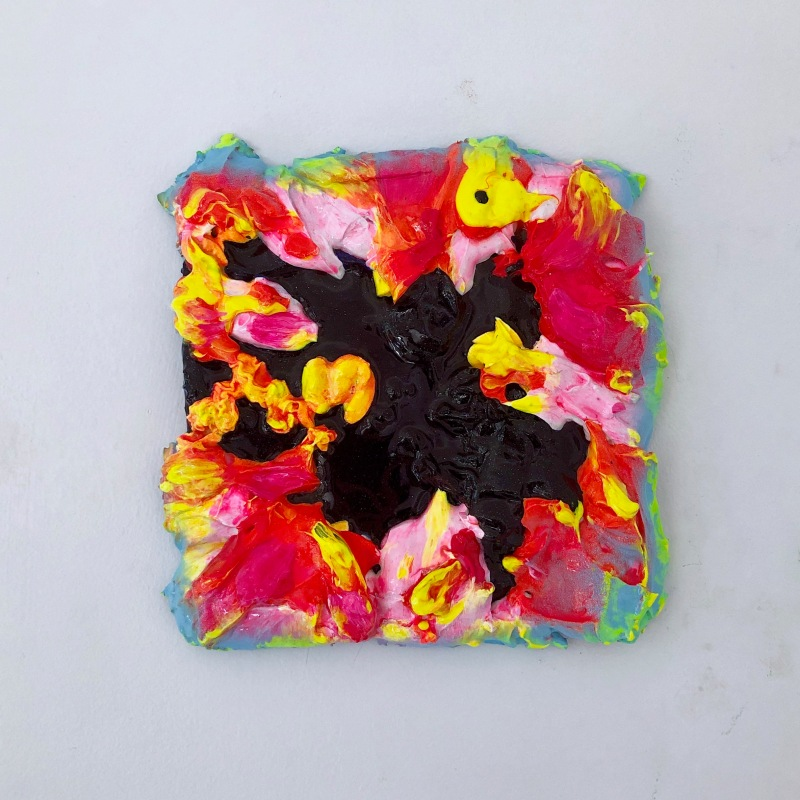 Not A Wall Flower, 2019, acrylic, spray paint, glitter on aluminium, 200 x 200 mm